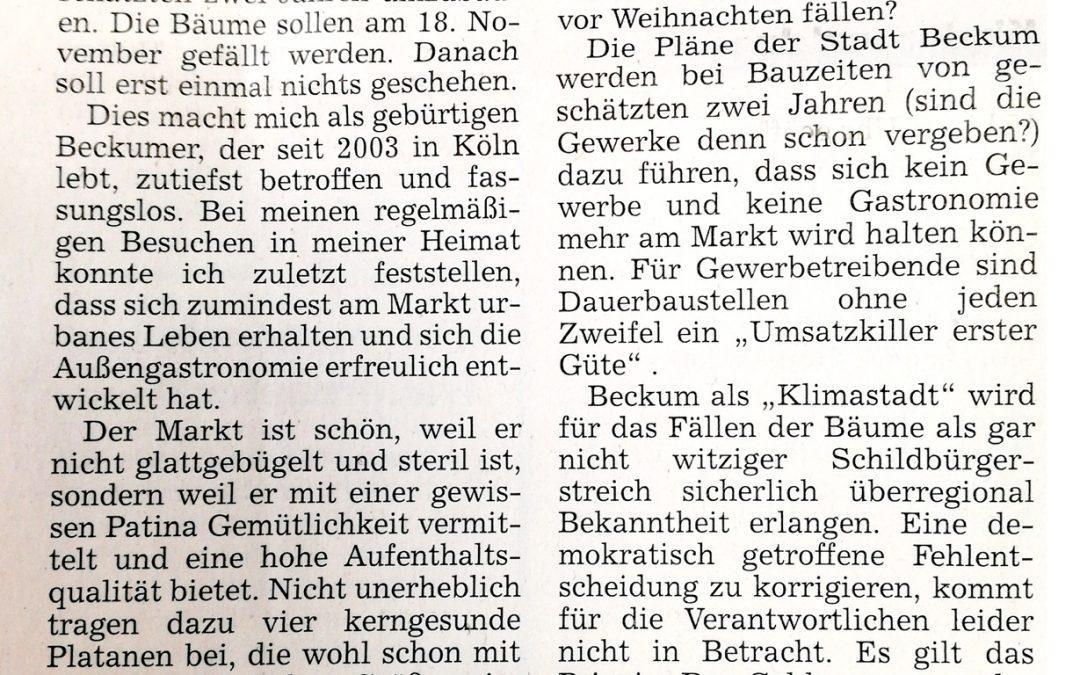Leserbrief: Groteske Baumfällung von Rainer Frölich