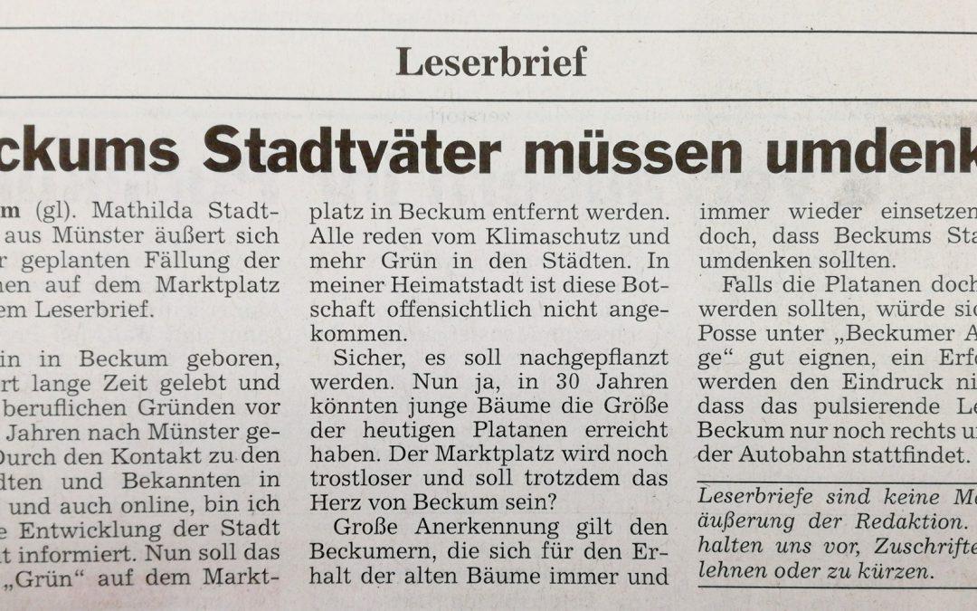 Leserbrief: Beckums Stadtväter müssen umdenken von Mathilda Stadtmann