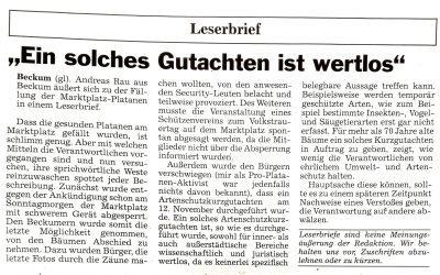 """Leserbrief: """"Ein solches Gutachten ist wertlos"""" von Andreas Rau"""