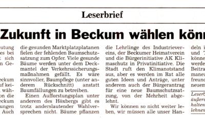 """Leserbrief """"Wenn die Zukunft in Beckum wählen könnte …"""" von Jürgen Platz"""